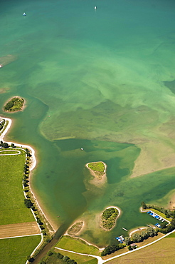 Aerial view, lake shore, Forggensee, Allgau, Bavaria, Germany, Europe