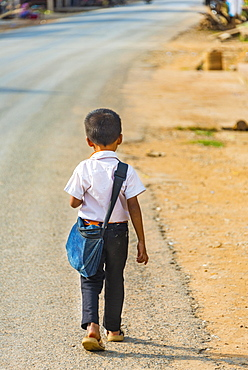 Little boy on way to school, Nong Khiaw, Luang Prabang Province, Laos, Asia