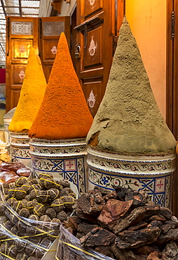 Spices and herbs on sale in Marrakech market, Marrakech, Morocco, Africa