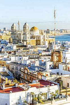 Cityscape with Cathedral of Cadiz, Cadiz, Andalusia, Spain, Europe