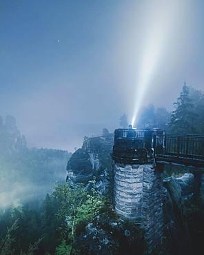 Bastion view at night, Elbe Sandstone Mountains, Saxon Switzerland, Germany, Europe