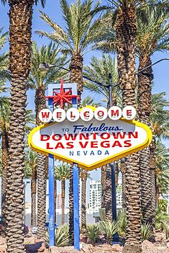 Welcome sign at street, Downtown Las Vegas, Nevada, USA, North America