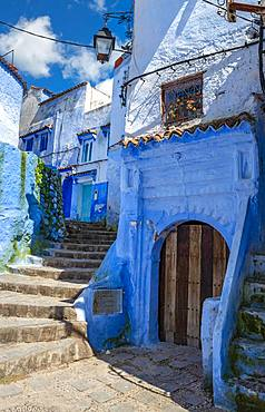 Narrow alleyway, blue houses, Medina of Chefchaouen, Chaouen, Tanger-Tetouan, Morocco, Africa