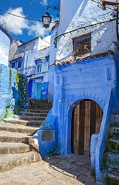 Narrow alleyway, blue houses, Medina of Chefchaouen, Chaouen, Tanger-Tetouan, Morocco, Africa