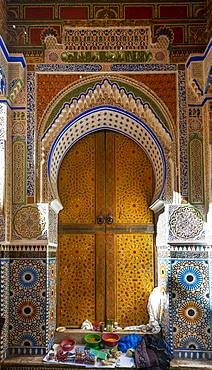 Splendidly decorated entrance door, exterior facade University and Mosque Al-Qarawiyyin, Al Quaraouiyine or Al-Karaouine, Fes, Fez, Morocco, Africa