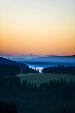 Morning haze, morning mood, view from Thurner, behind the Swiss Alps, Black Forest, Baden-Wuerttemberg, Germany, Europe
