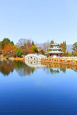 White Bridge and Chinese Pagoda, Deyue Pavilion, Black Dragon Lake, Black Dragon Pool, Unesco World Heritage Site, Lijiang, Yunnan Province, People's Republic of China