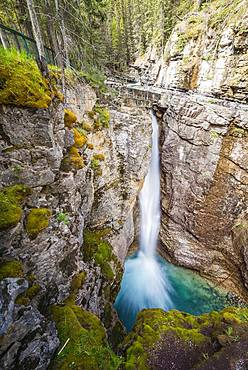 Waterfall, Upper Falls, Mountain River in a Gorge, Johnston Creek in Johnston Canyon, Bow Valley, Banff National Park, Rocky Mountains, Alberta, Canada, North America