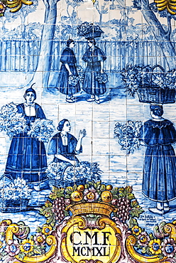 Women selling flowers, street scene, historical Azulejo tile painting, painted ceramic tiles, market hall, Funchal, Madeira, Portugal, Europe