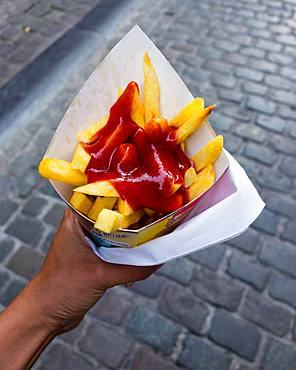 French fries with ketchup, Brussels, Belgium, Europe