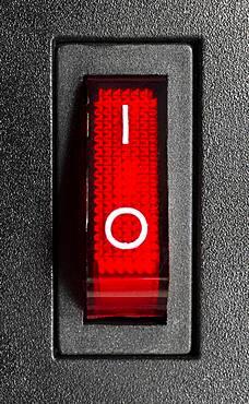 Illuminated switched-on power switch, Germany, Europe