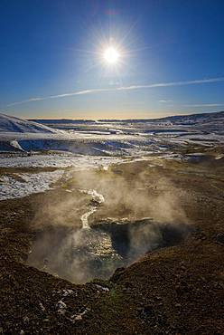 Geothermal area Hengill, steaming fumarole, Pingvellir National Park, Suourland, Iceland, Europe