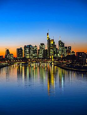 Deutschherrenbruecke with skyline at sunset, Frankfurt am Main, Hesse, Germany, Europe