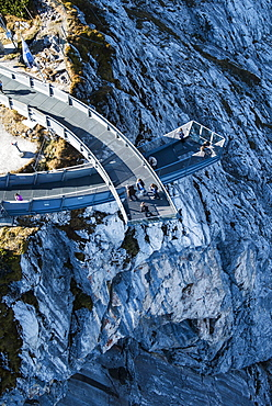 Alpspix viewing platform over the Hoellental, Osterfelder mountain station in the Wetterstein range, Garmisch-Partenkirchen, Bavaria, Upper Bavaria, Germany, Europe