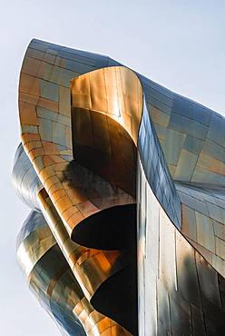 Copper-coloured exterior facade of the Museum of Pop Culture, MoPOP, modern architecture, architect Frank Gehry, Washington, USA, North America