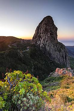 Roque de Agando rock tower at sunrise, Monumento Natural de los Roques, La Gomera, Canary Islands, Spain, Europe