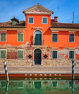 Historical house on the canal, Burano, Venice, Italy, Europe