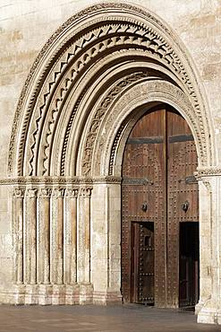 Romanesque portal with round arches, Cathedral of Valencia, Ciutat Vella, Old Town, Valencia, Spain, Europe