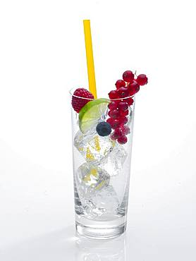 Glass prepared for cocktail, decorated with raspberry, blueberry, lime and red currant, drinking straw, ice cubes, Germany, Europe