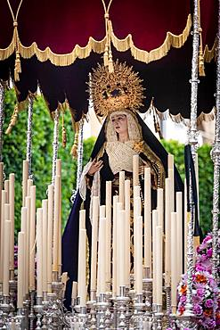 Paso de la Virgen, statue of the Virgin Mary with canopy, Semana Santa procession, Holy Week, Almeria, Andalusia, Spain, Europe
