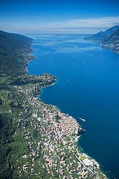 Lake Garda east shore with Malcesine, aerial view, Province of Veneto, Italy, Europe