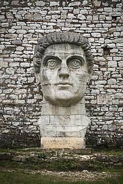 Oversized bust of Constantine the Great, Konstandini i Madh, at the fortress wall, Berat, Albania, Europe