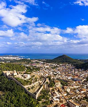 Drone shot, city view with Castell de Capdepera, Capdepera, Majorca, Balearic Islands, Spain, Europe