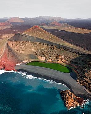 Charco de los Clicos, El Lago Verde, green lagoon, near El Golfo, drone shot, Lanzarote, Canary Islands, Spain, Europe