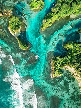 Wooded coastal area, drone shot, Escudo de Veraguas, Panama, Central America
