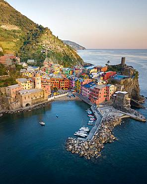 View Vernazza, aerial view, colorful houses, harbour, Cinque Terre, Liguria, Italy, Europe