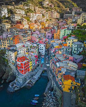 Aerial view of Riomaggiore, harbour, Cinque Terre, Italy, Europe