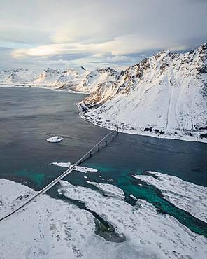 Gimsoystraumen Bridge in Winter, Gimsoy Bridge, drone shot, Gimsoy, Lofoten, Norway, Europe