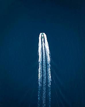 Passenger boat from above, drone shot, Lofoten, Norway, Europe