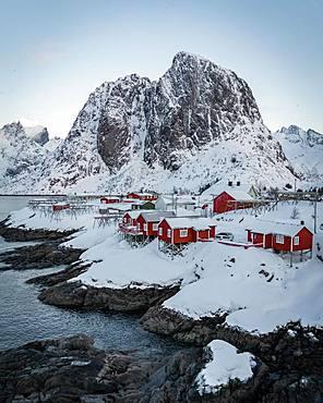 Red stilt houses, Hamnoy, drone shot, Lofoten, Norway, Europe