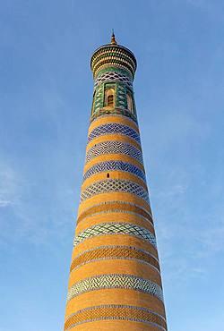 Islom Hoja, Islam Khodja, Minaret, Khiva, Uzbekistan, Asia