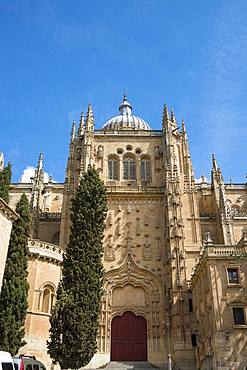 Gothic Old Cathedral, Catedral Vieja, exterior view, Salamanca, Castile-Leon, Spain, Europe