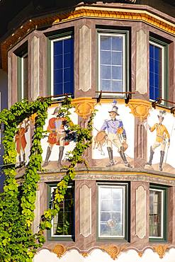 Mural painting Postreiter at the bay window of Hotel zur Post, Wallgau, Werdenfelser Land, Upper Bavaria, Bavaria, Germany, Europe