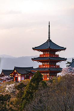 Pagoda and Zuigudo of the Kiyomizu-dera Temple, Kyoto, Japan, Asia