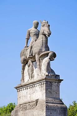 Otto I. equestrian statue on Wittelsbacher bridge, Isarvorstadt, Munich, Upper Bavaria, Bavaria, Germany, Europe