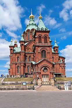 Orthodox Uspenski Cathedral, brick building, Helsinki, Finland, Europe
