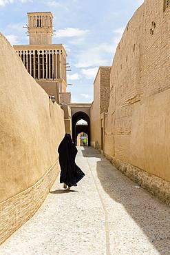 Aghazadeh Mansion and its windcatcher, Abarkuh, Yazd Province, Iran, Asia