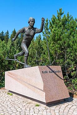 Monument to Siiri Johanna Rantanen, Finnish cross-country skier Olympic champion, Salpausselkae ski jump, Lahti, Finland, Europe