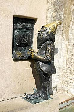 Dwarf at ATM, Wroclaw's dwarfs, Wroclaw, Poland, Europe