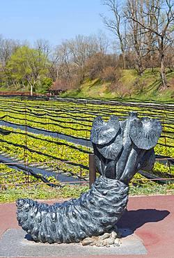 Sculpture Wasabi rhizome in front of Wasabi cultivation, Daio Wasabi Farm, Nagano, Japan, Asia