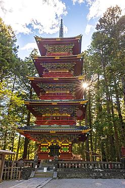 Decorated five-storey pagoda, Toshogu Gojunoto, Nikko, Japan, Asia