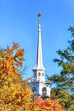 White church tower between autumnal trees, Lexington Battle Green, Lexington, Massachussets, USA, North America