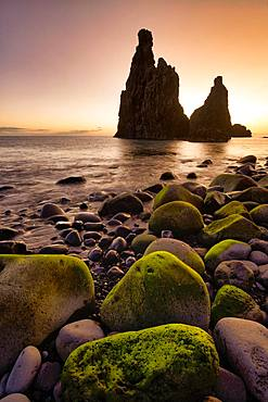 Volcanic rock formation Ilheus da Rib, steep coast of Ribeira de Janela, also Ribeira da Janela, sunrise, Porto Moniz, island Madeira, Portugal, Europe