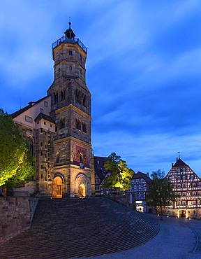St. Michael with large open stairs at dusk, Schwaebisch Hall, Baden-Wuerttemberg, Germany, Europe