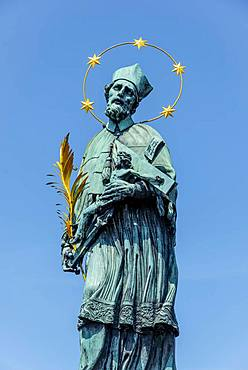 Statue, St. John of Nepomuk, Charles Bridge, Prague, Czech Republic, Europe