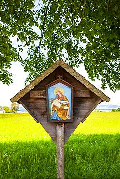 Wayside shrine, wayside shrine under a lime tree, Weissenkirchen in the Attergau, Hausruck Quarter, Upper Austria, Austria, Europe